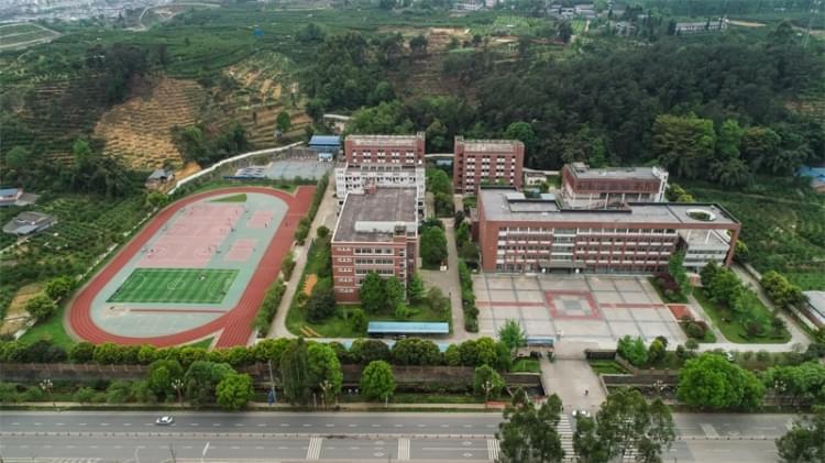 蒲江县技工学校全景鸟瞰图